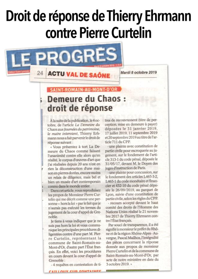Droit de réponse de thierry Ehrmann dans le Progrès daté 8 octobre 2019 contre Pierre Curtelin Maire de Saint-Romain-au-Mont d'Or (saison 9 épisode 2)